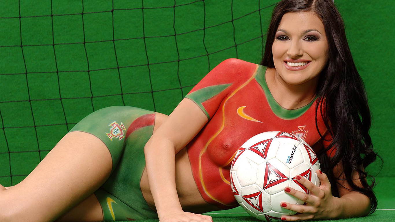 Body Painting Soccer Girl HD Wallpaper