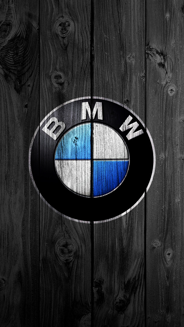 BMW Logo on Black Wood