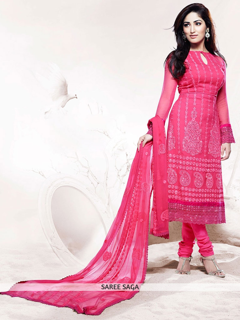 Yami in Pink Churidar Suit