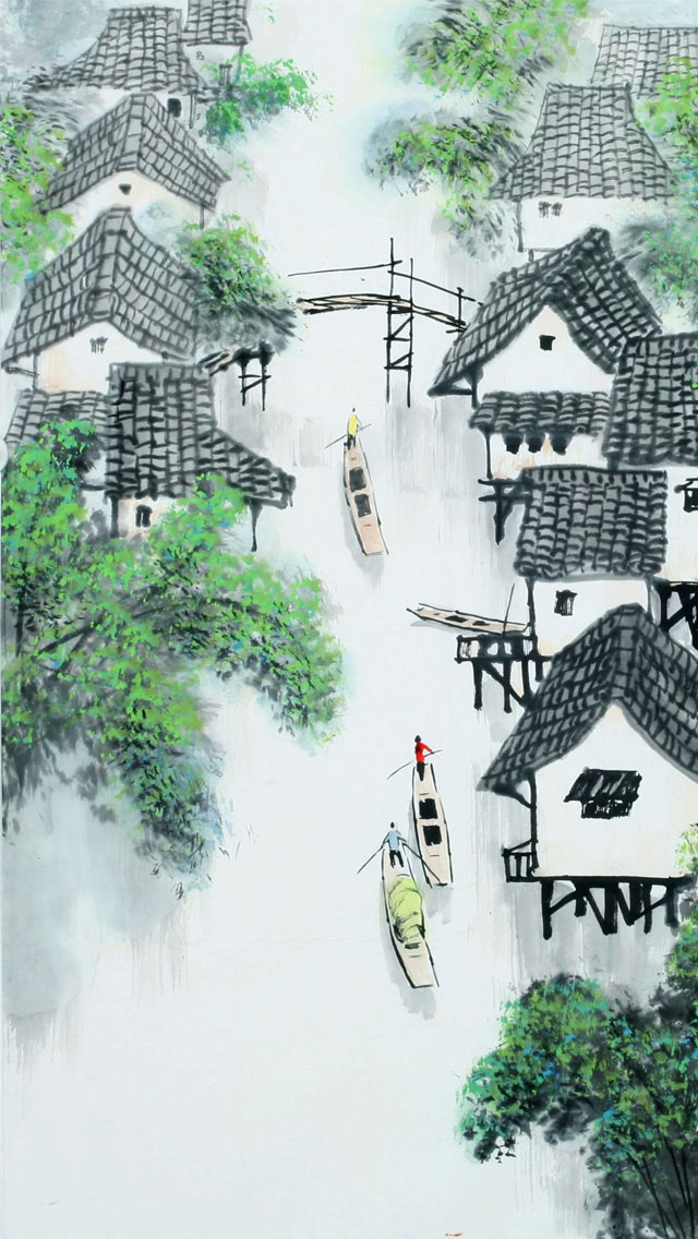 Beautiful Snowy Village Painting