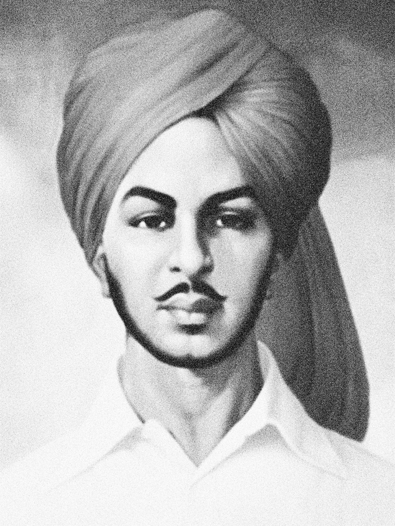 Bhagat Singh Black & White Photo