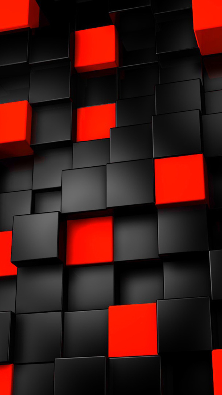 Black Red Cubes Pattern