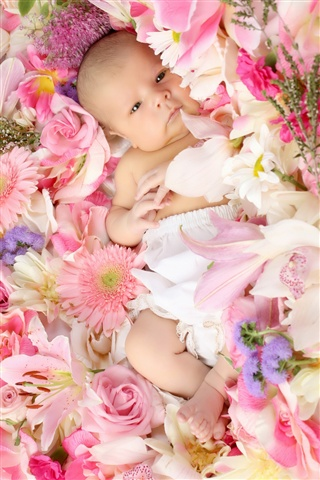 Cute Baby on Flowers