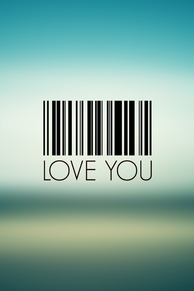 Love Quote Wallpapers For cell Phones : I Love You Barcode - 123mobileWallpapers.com