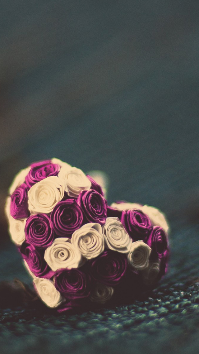 Purple Rose in Heart Shape
