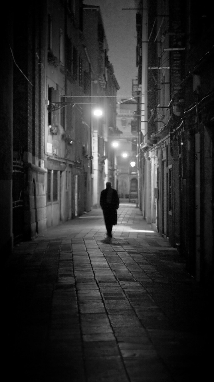 Alone Man On Deserted Street