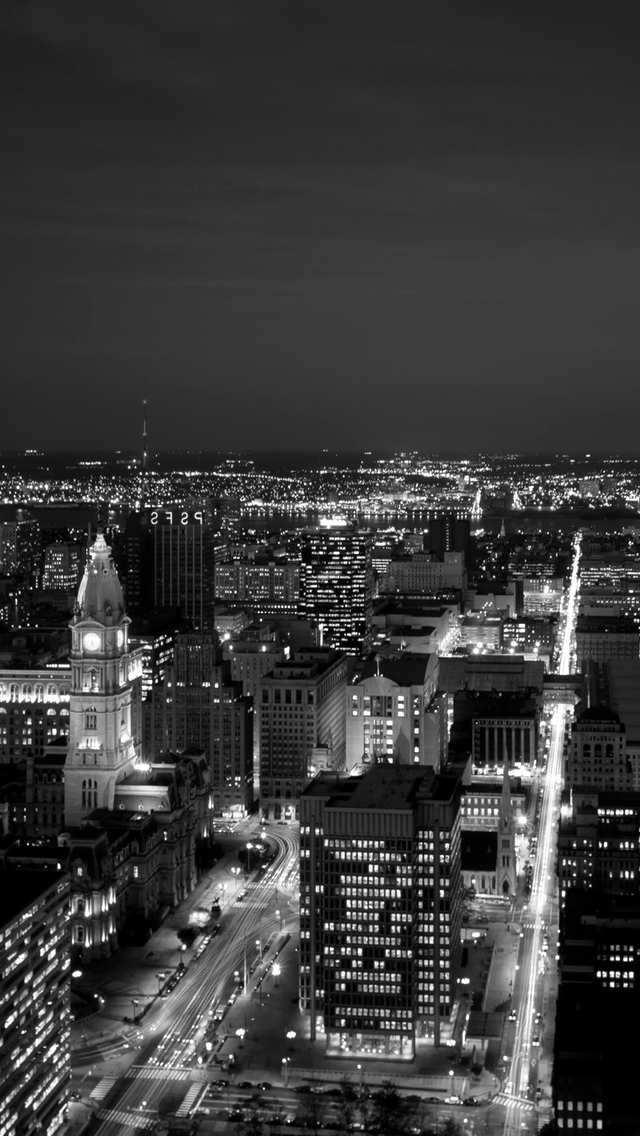 Black White City At Night Mobile Wallpapers