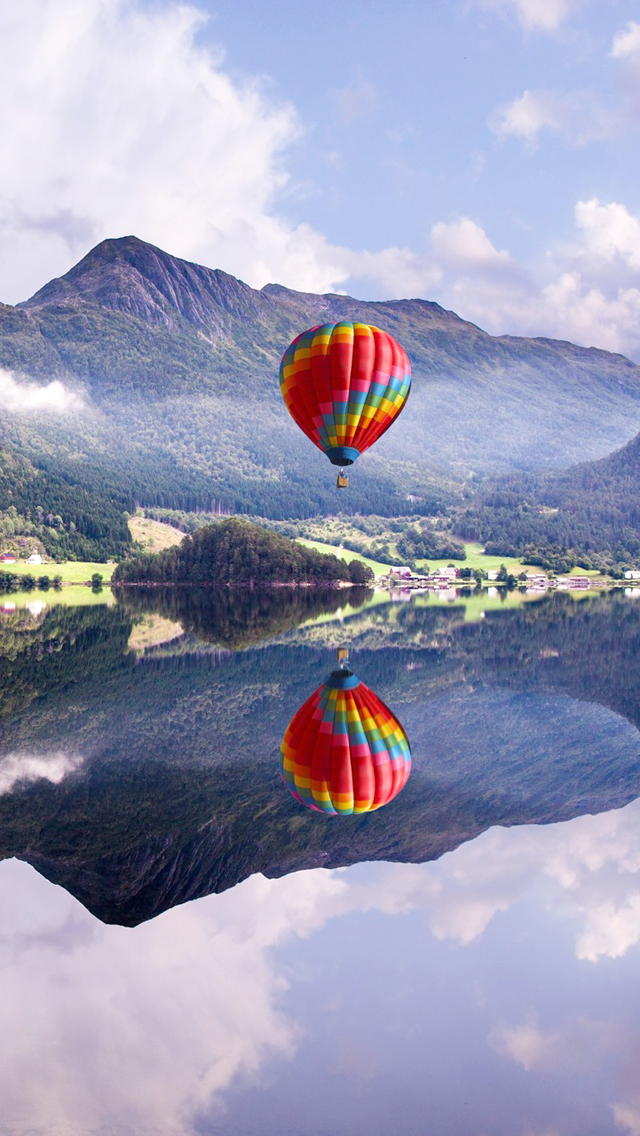 Colorful Balloon And Hill