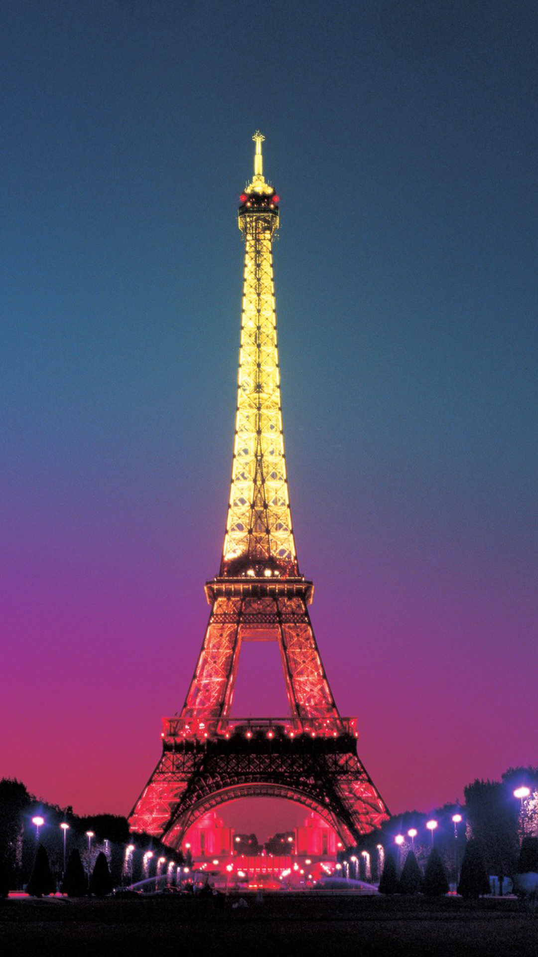 Colorful Light On Eiffel Tower