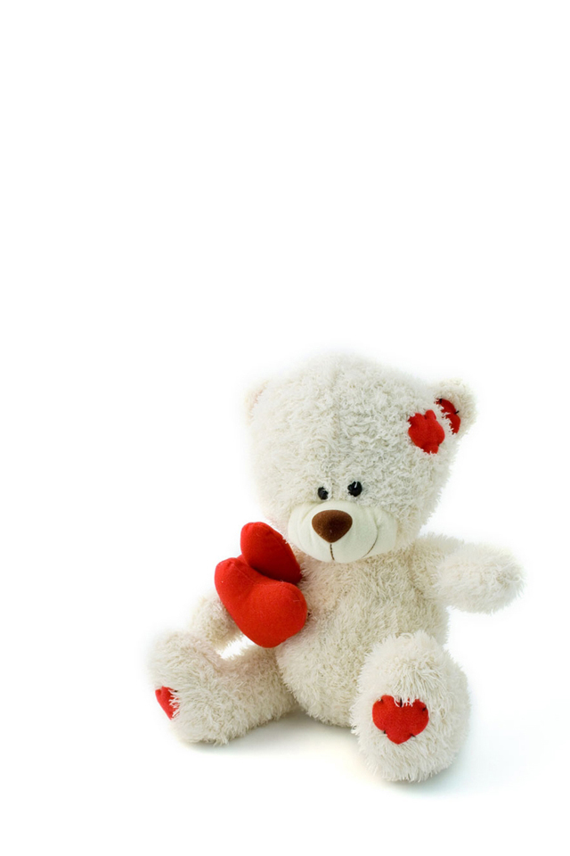 Cute White & Red Teddy