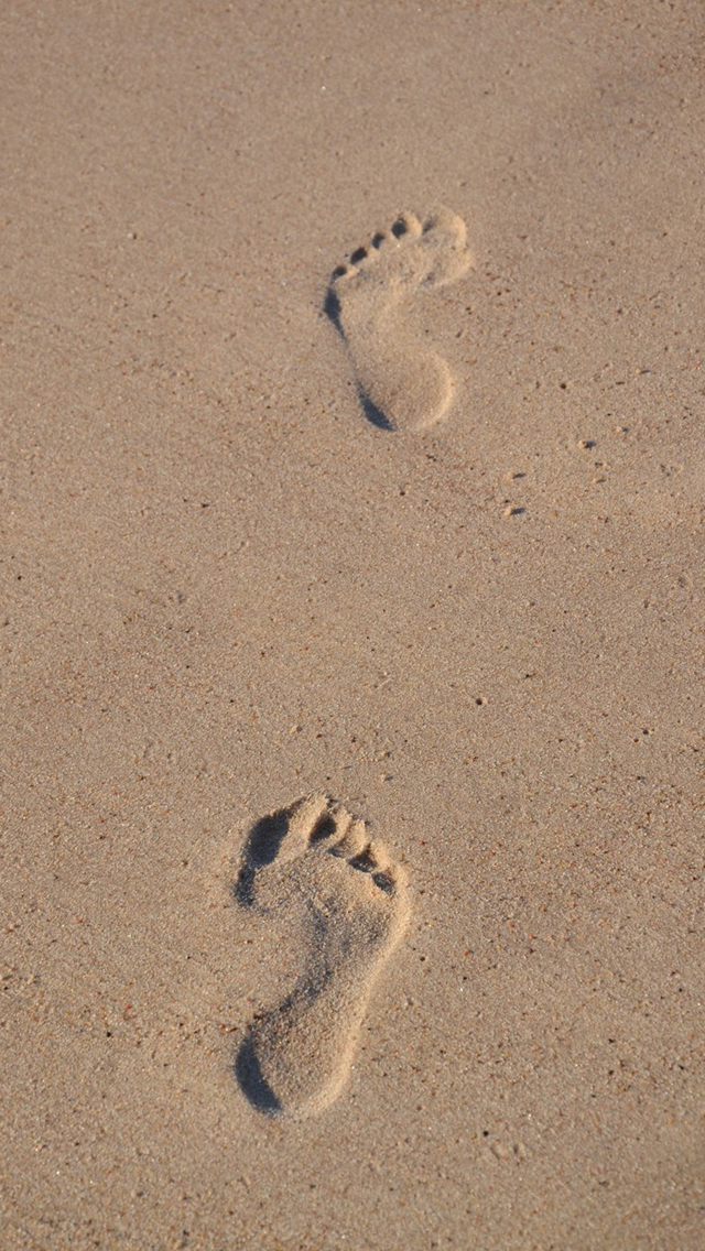 Foot Print On Beach