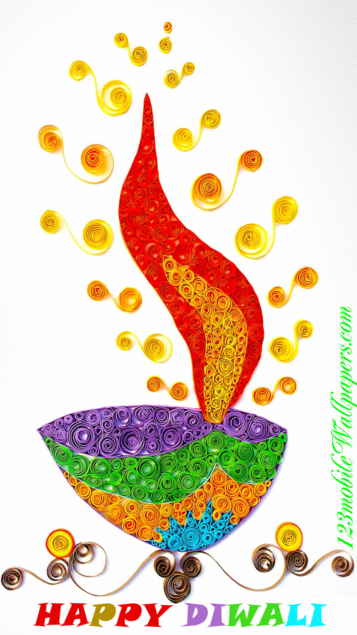 Colorful Happy Diwali Diya