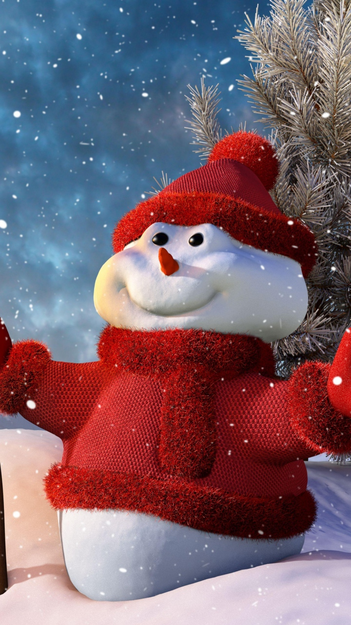 Christmas Smiling Snowman Wallpaper