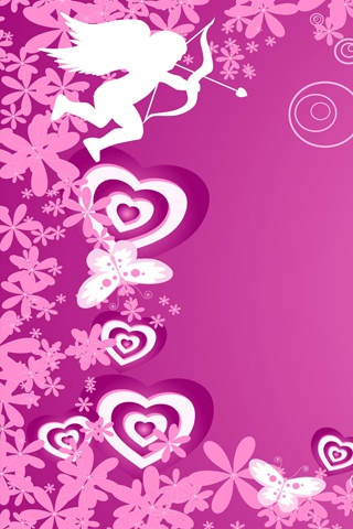 Pink Love Cupid Wallpaper
