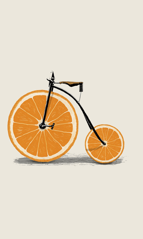 Funny Orange Bicycle Wallpaper