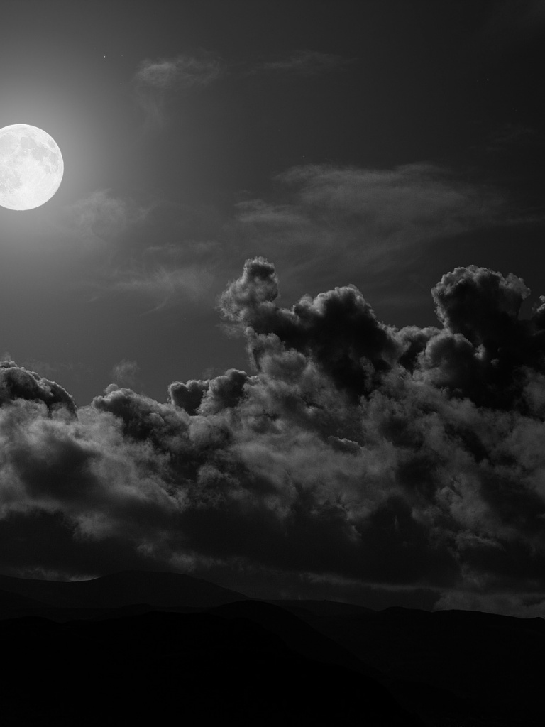 Hd Moon Monochrome Wallpaper