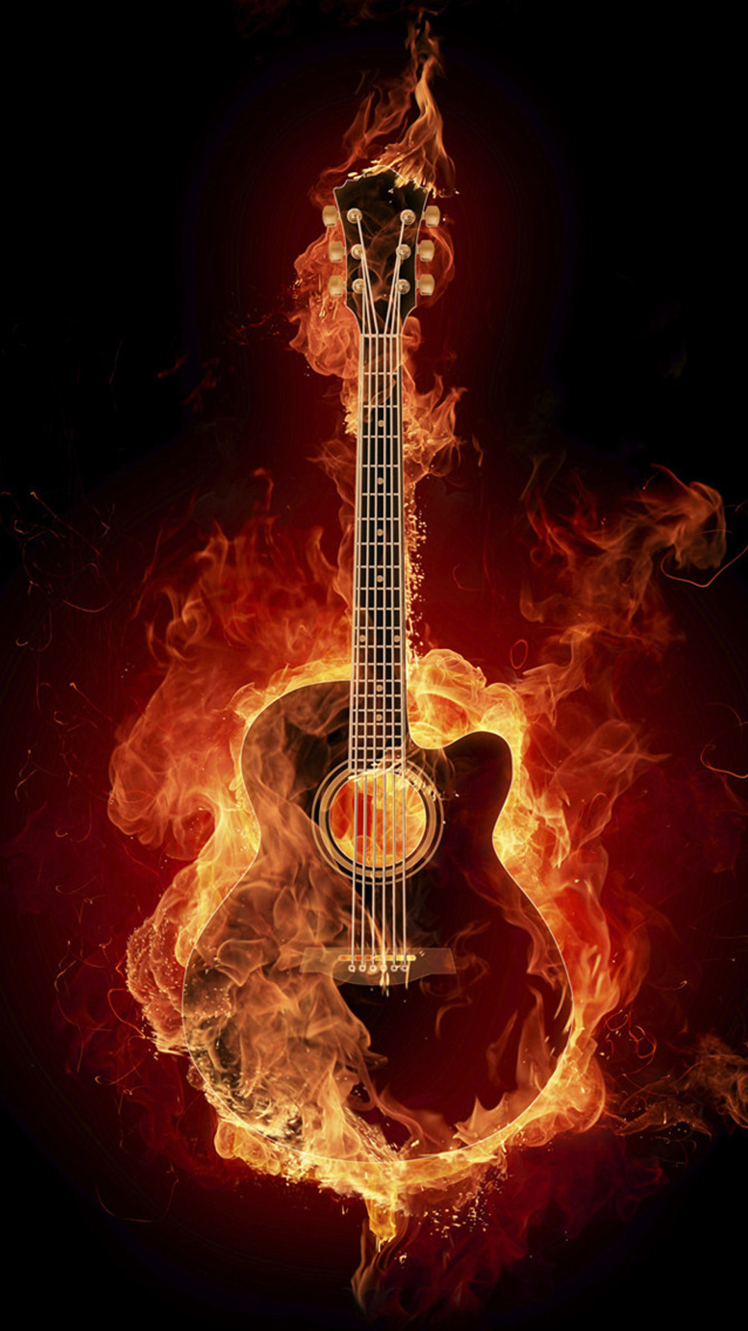 Flame Guitar Wallpaper