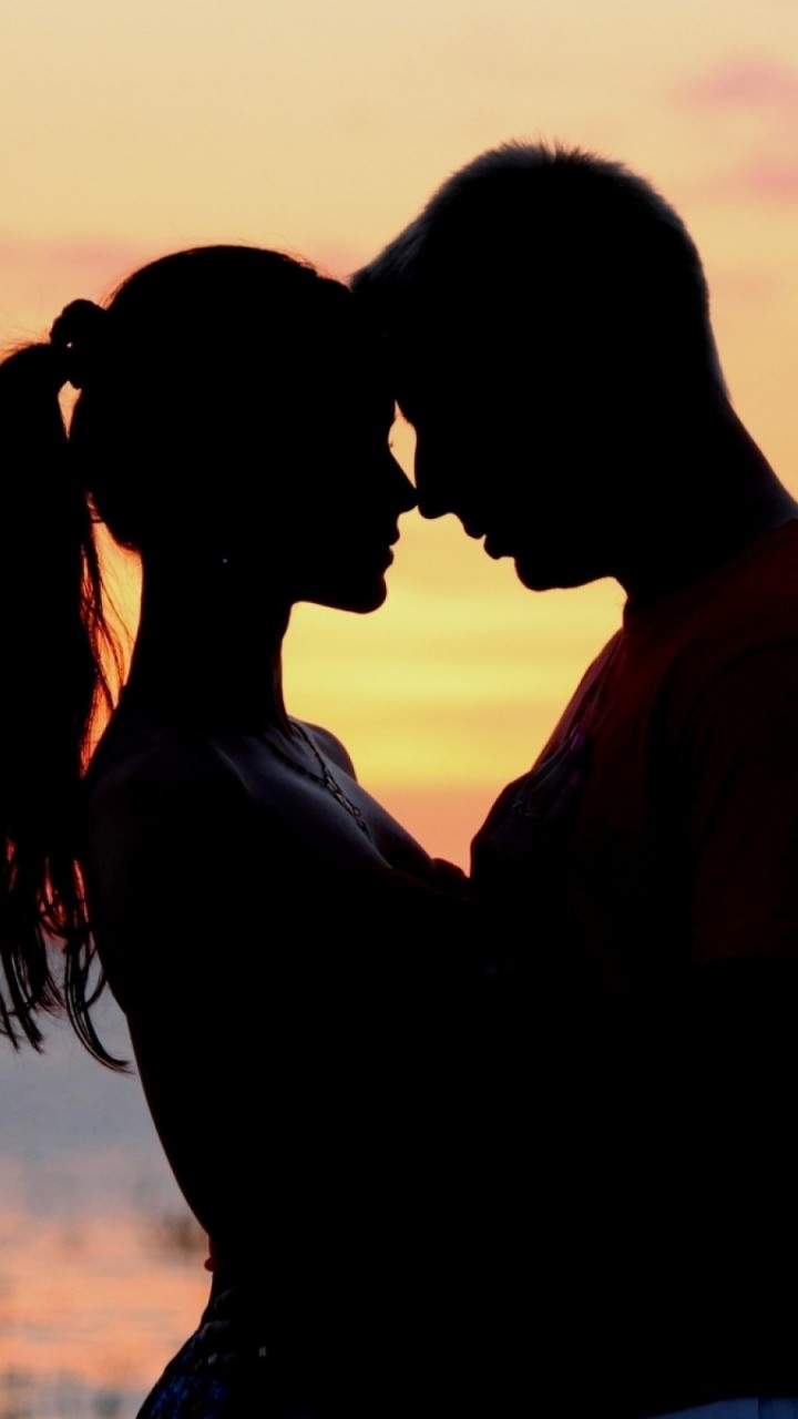 Romantic Love couple Wallpaper For Phone : Lover Silhouettes Wallpaper