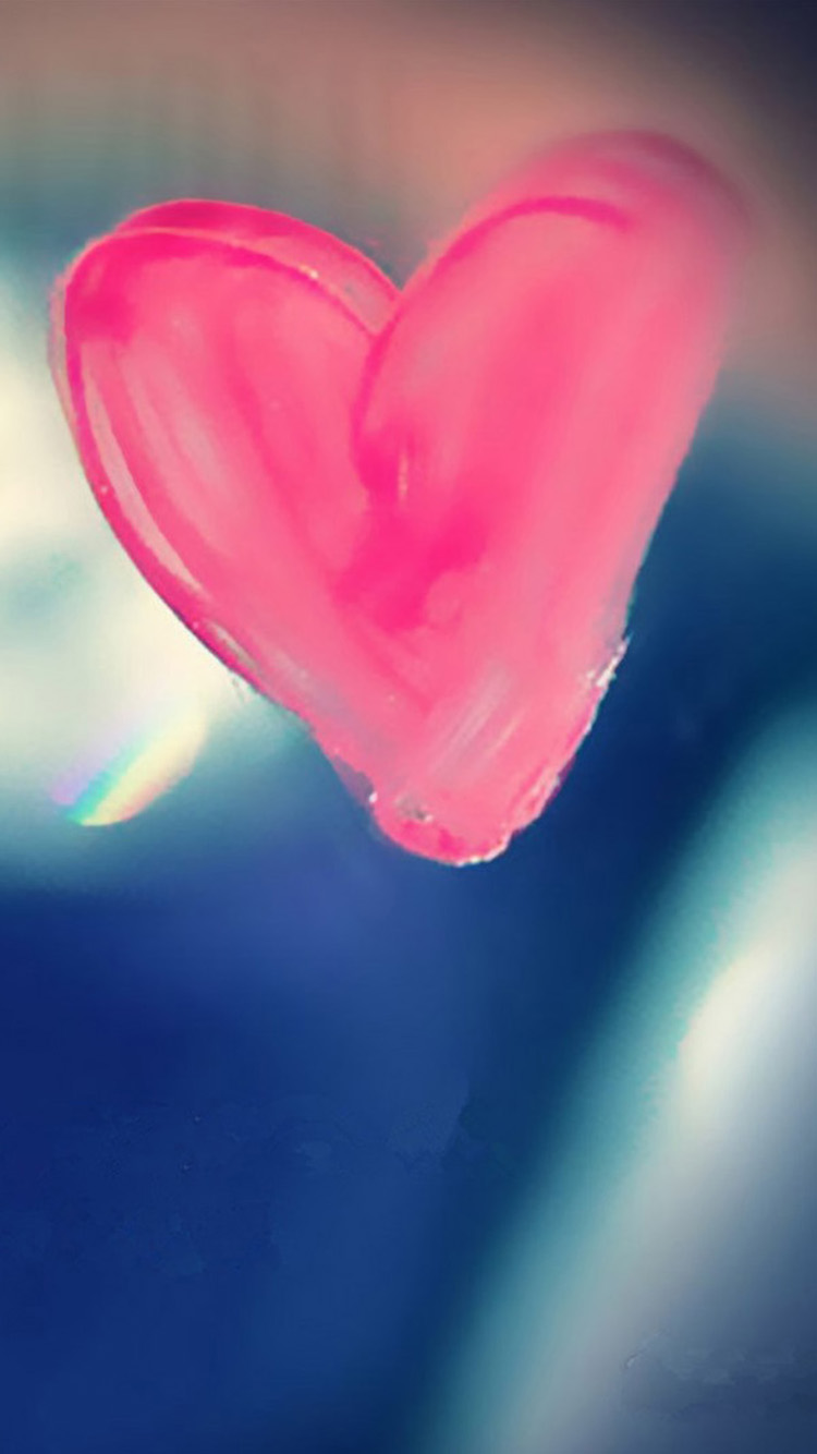 Pink Heart Drawn On Glass