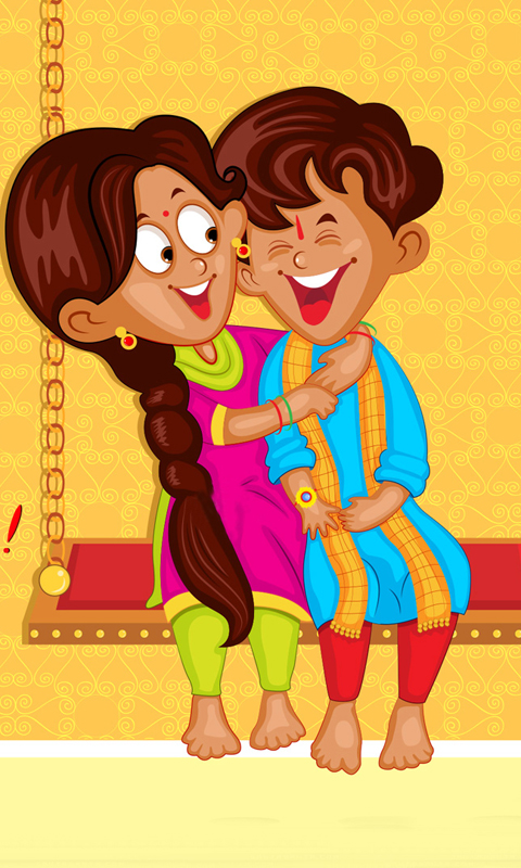 Brother Sister Enjoying Raksha Bandhan