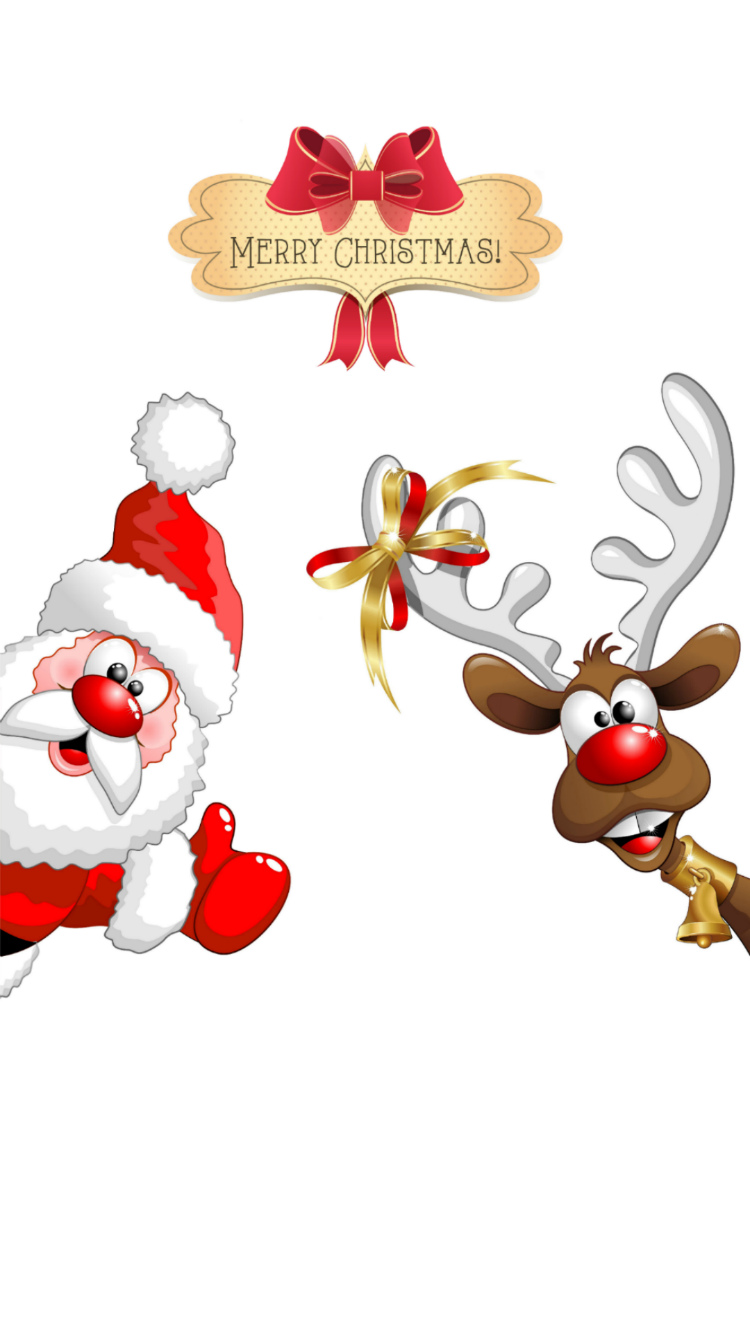 Santa And Reindeer Wallpaper