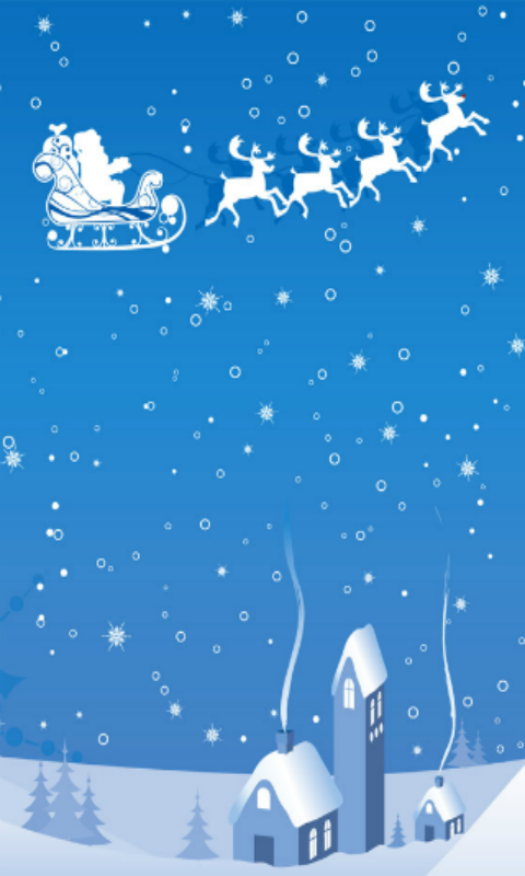 Santa Claus & Reindeer Wallpaper