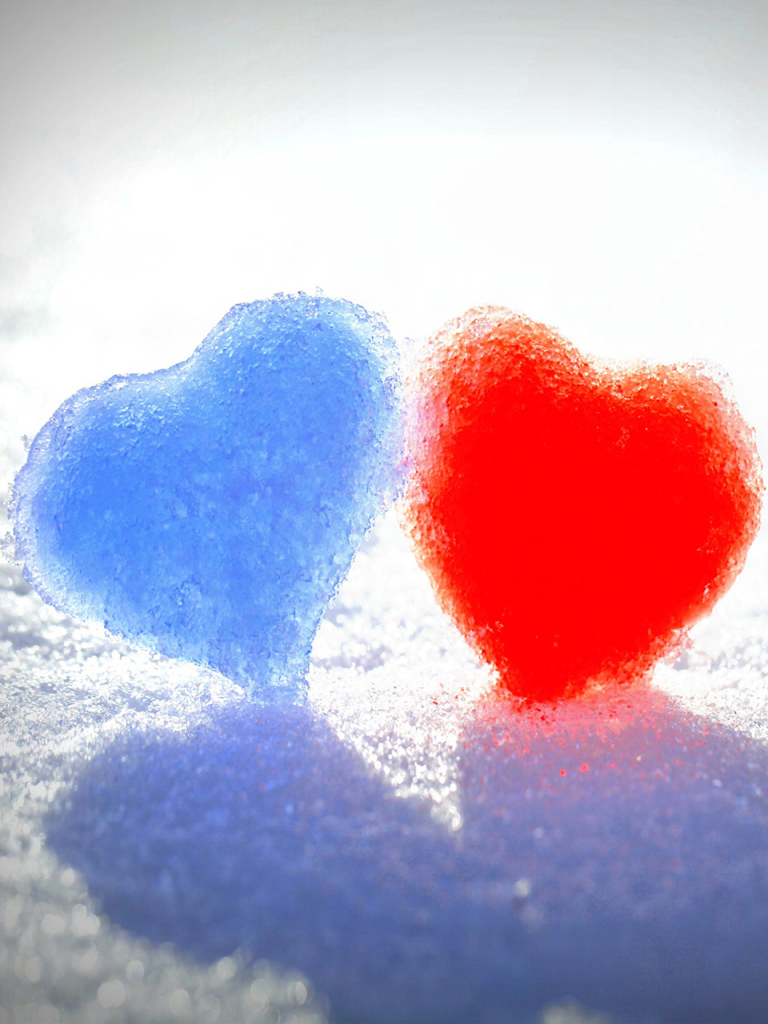 Snow Love Wallpaper For Mobile : Red Blue Snow Heart