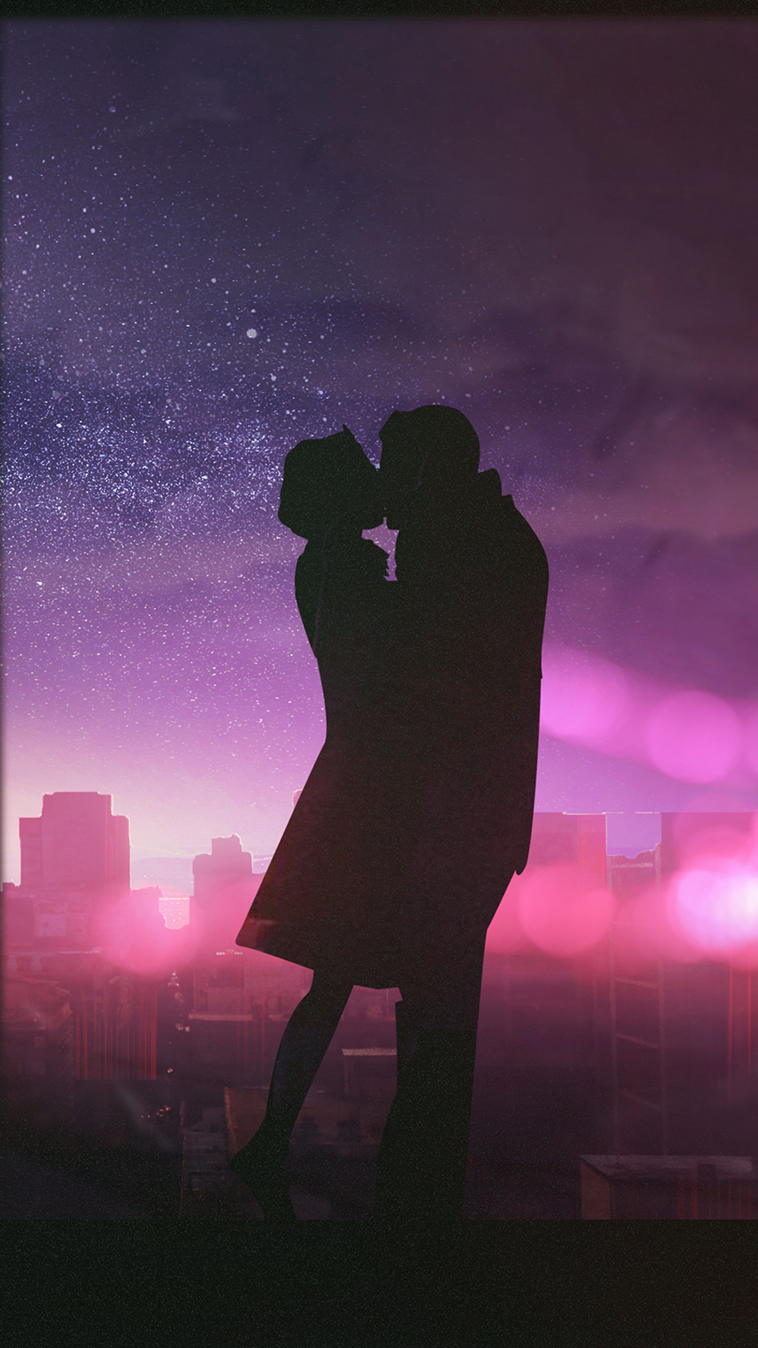 Romantic Love couple Wallpaper For Phone : Valentine couple Kissing