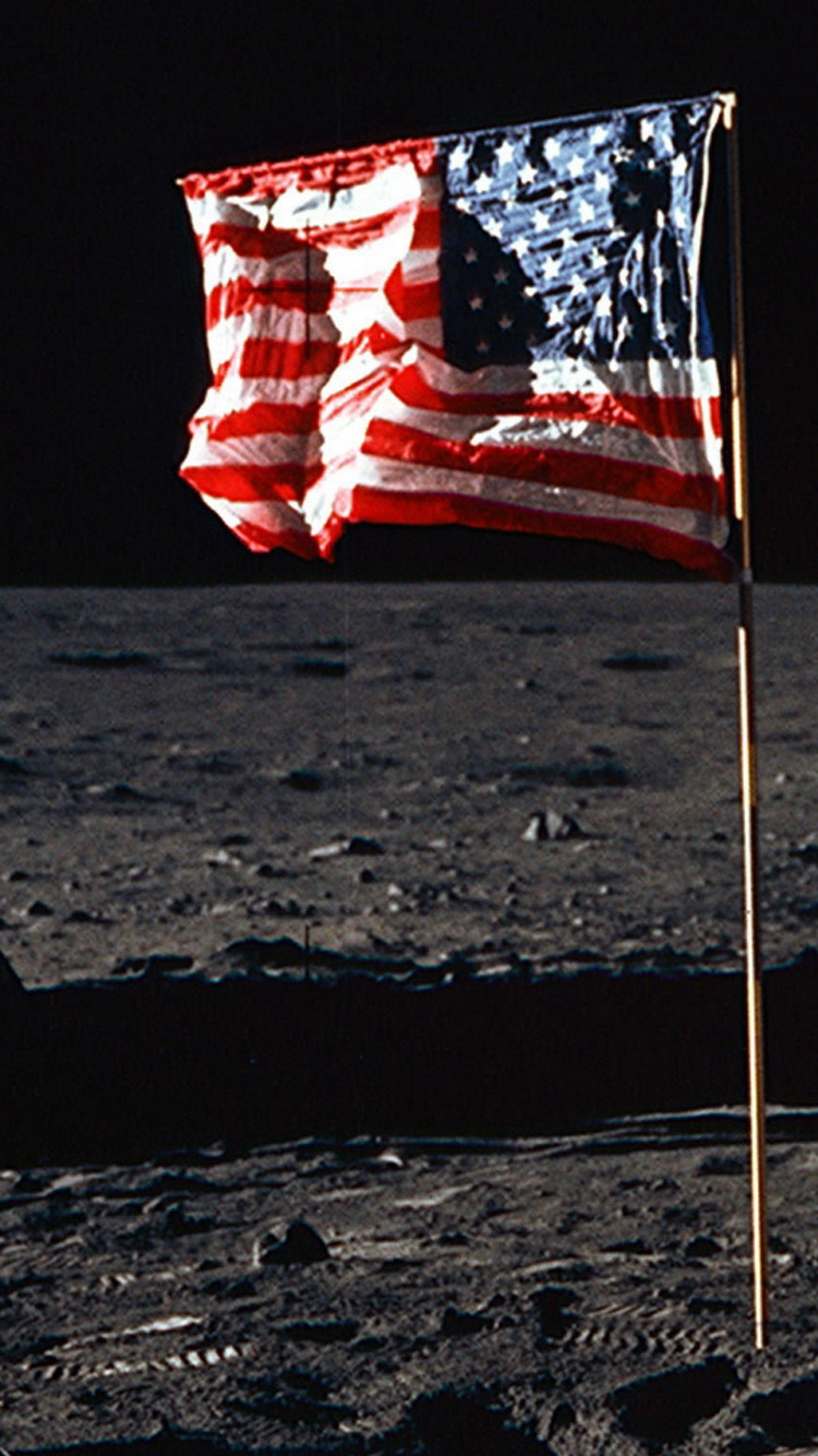Usa flag on the moon for Usa wallpaper