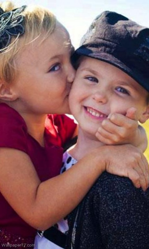 Cute Kids Kiss