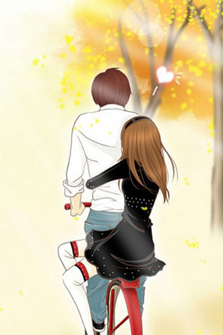 Anime Couple Riding Bicycle