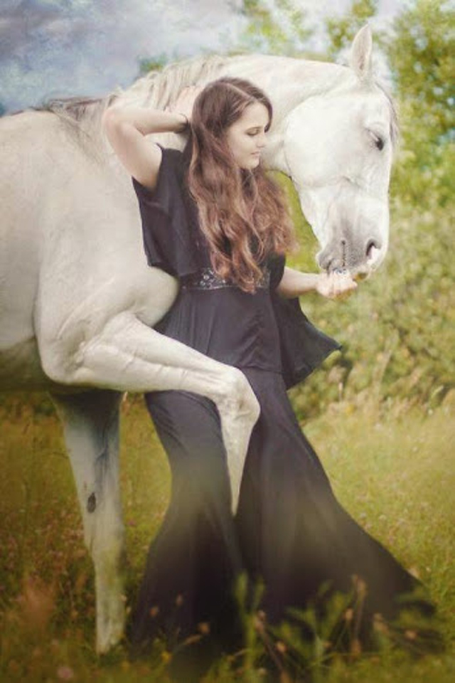 Beautiful Girl with White Horse