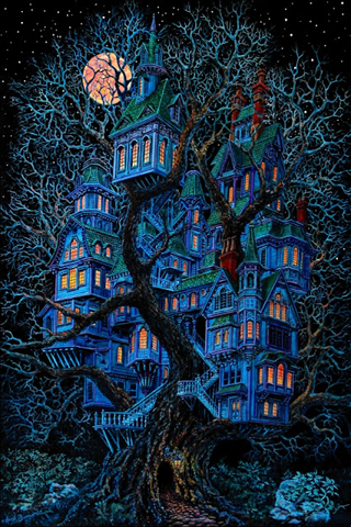 Blue Ghost House iPhone
