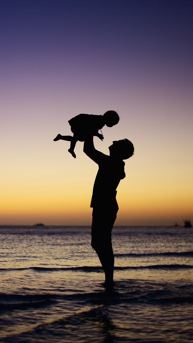 Father Baby Beach Silhouette