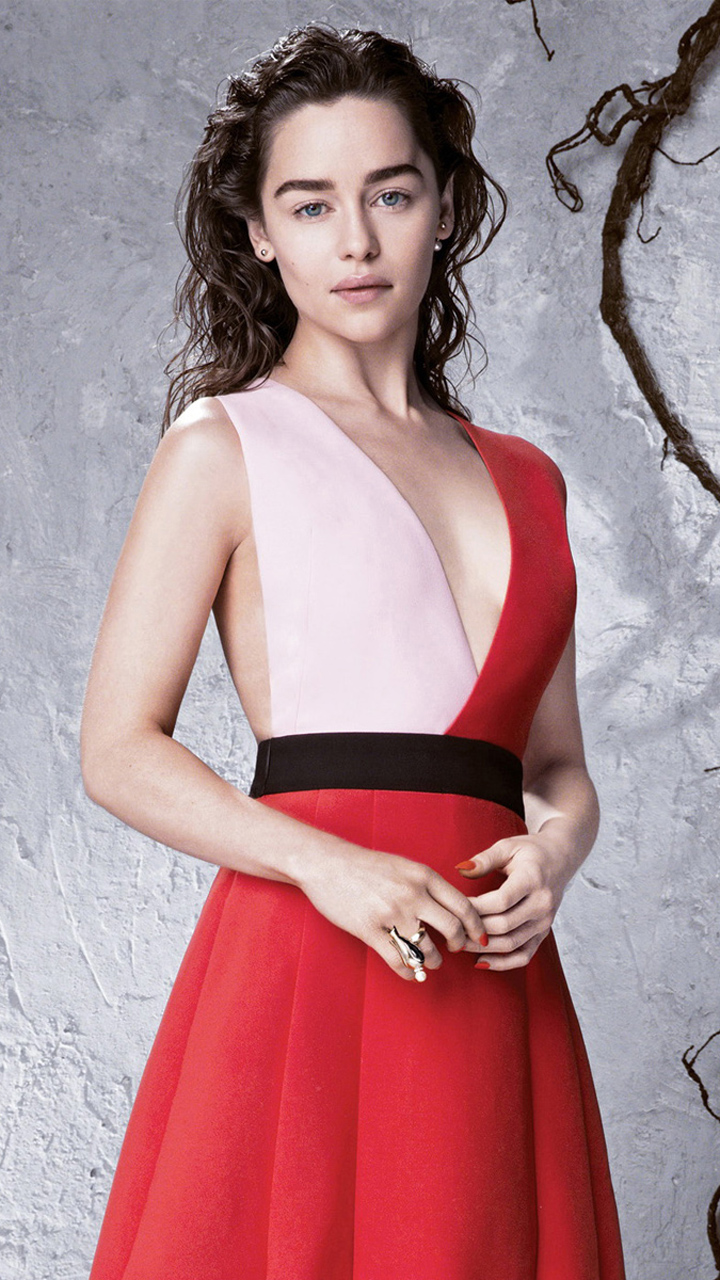 Emilia Clarke in White Red Dress