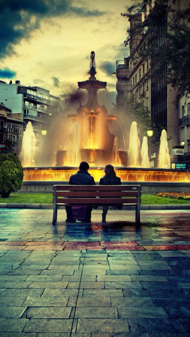 Couple Enjoying Fountain View