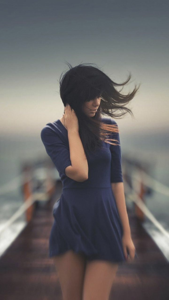 Lovely Girl Sea Wind Photo