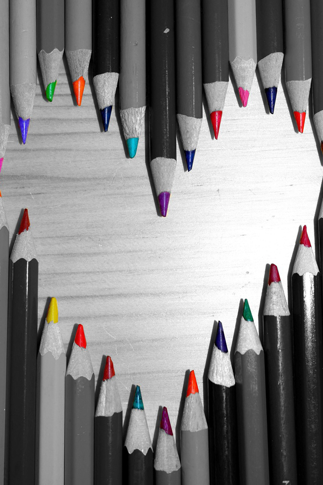 Pencil Colors Love Hearts