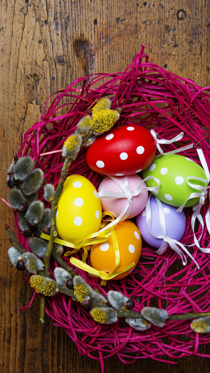 Purple Nest With Easter Eggs